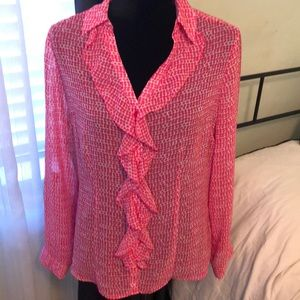 Hot pink and white button- down blouse, M